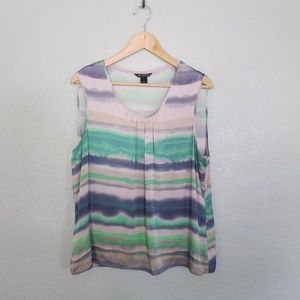 St. john watercolor striped silk tank top blouse